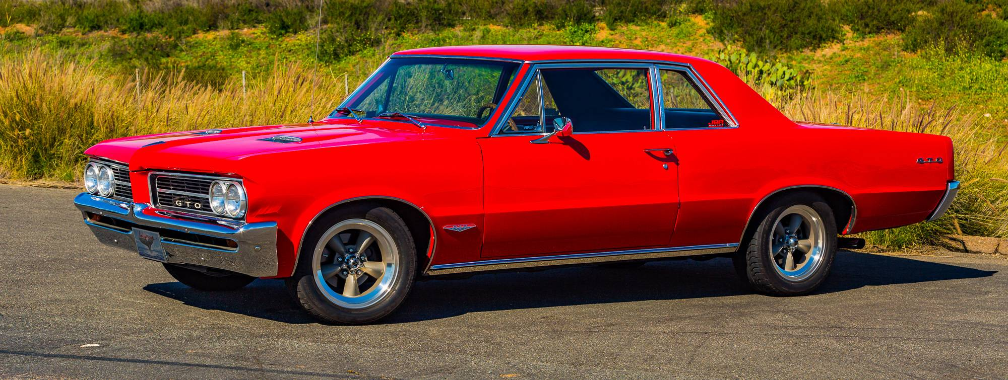 1964 Pontiac GTO Coupe, Red, American Racing Wheels, Black interior, Classic Muscle Car, BFGoodrich Tires