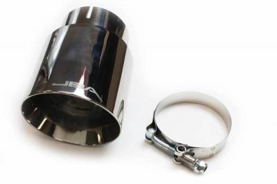 "Performance Exhaust - Exhaust Tips - JBA Exhaust - 3"" x 4"" x 5 3/4"" Double Wall Polished S/S Chrome Tip"