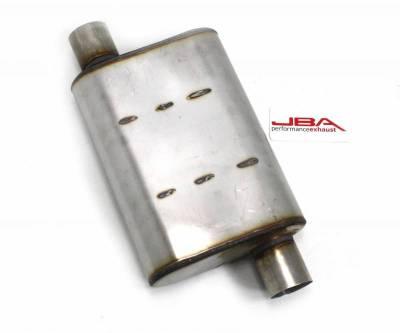 """Performance Exhaust - JBA Mufflers - JBA Exhaust - Chambered 2.5"""" Muffler 409 SS Offset/Offset"""