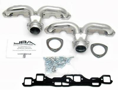 Cat4Ward Shorty - Automotive - JBA Exhaust - Chev Center Exit Header Pre LT1 Hds Sil Cer