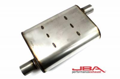 """Performance Exhaust - JBA Mufflers - JBA Exhaust - JBA Performance Exhaust 40-201300 """"Universal"""" Chambered Style 304SS Muffler 13""""x9.75""""x4"""" 2"""" Inlet Diameter Offset/Offset"""