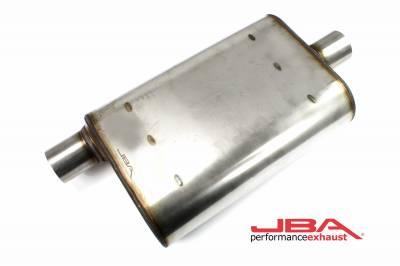 """Performance Exhaust - JBA Mufflers - JBA Exhaust - JBA Performance Exhaust 40-251301 """"Universal"""" Chambered Style 304SS Muffler 13""""x9.75""""x4"""" 2.5"""" Inlet Diameter Offset/Center"""