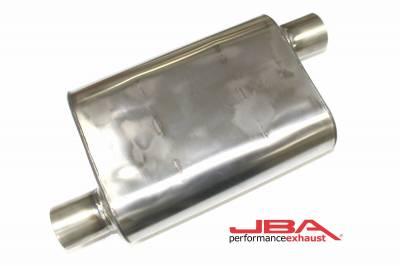 """Performance Exhaust - JBA Mufflers - JBA Exhaust - JBA Performance Exhaust 40-251300 """"Universal"""" Chambered Style 304SS Muffler 13""""x9.75""""x4"""" 2.5"""" Inlet Diameter Offset/Offset"""