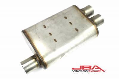 """Performance Exhaust - JBA Mufflers - JBA Exhaust - JBA Performance Exhaust 40-251302 """"Universal"""" Chambered Style 304SS Muffler 13""""x9.75""""x4"""" 2.5"""" Inlet Diameter Offset/2.5"""" Dual Outlet"""