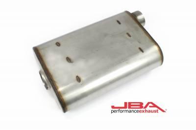 """Performance Exhaust - JBA Mufflers - JBA Exhaust - JBA Performance Exhaust 40-251400 """"Universal"""" Chambered Style 304SS Muffler 14""""x9.75""""x4"""" 2.5"""" Inlet Diameter Offset/Offset"""