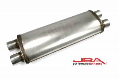 "Performance Exhaust - JBA Mufflers - JBA Exhaust - JBA Performance Exhaust 40-252200 ""Universal"" Chambered 304SS Muffler 22""X8""X5"" 2.5"" Dual In/Dual Out"