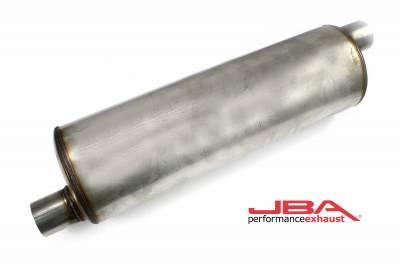 """Performance Exhaust - JBA Mufflers - JBA Exhaust - JBA Performance Exhaust 40-252201 """"Universal"""" Chambered 304SS Muffler 22""""X7"""" Round 2.5"""" Offset/Offset"""