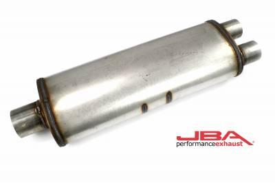 """Performance Exhaust - JBA Mufflers - JBA Exhaust - JBA Performance Exhaust 40-252500 """"Universal"""" Chambered 304SS Muffler 25""""X8""""X5"""" 3"""" Center inlet/2.5"""" Dual outlet"""