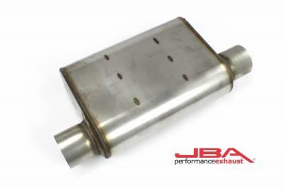 """Performance Exhaust - JBA Mufflers - JBA Exhaust - JBA Performance Exhaust 40-301301 """"Universal"""" Chambered Style 304SS Muffler 13""""x9.75""""x4"""" 3"""" Inlet/Outlet Diameter Offset/Offset same side"""