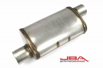 """Performance Exhaust - JBA Mufflers - JBA Exhaust - JBA Performance Exhaust 40-301400 """"Universal"""" Chambered Style 304SS Muffler 14""""x8""""x5"""" 3"""" Inlet Diameter Offset/Offset"""