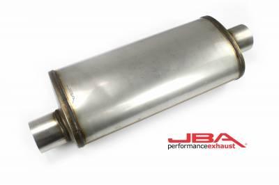 """Performance Exhaust - JBA Mufflers - JBA Exhaust - JBA Performance Exhaust 40-301800 """"Universal"""" Chambered Style 304SS Muffler 18""""x8""""x5"""" 3"""" Inlet Diameter Offset/Center"""