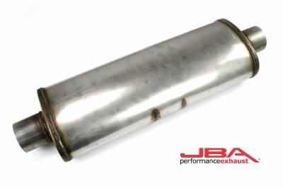 """Performance Exhaust - JBA Mufflers - JBA Exhaust - JBA Performance Exhaust 40-302202 """"Universal"""" Chambered 304SS Muffler 22""""X8""""X5"""" 3"""" Center/Center"""