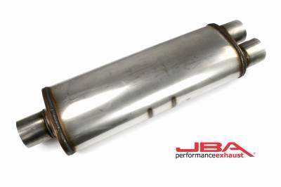 """Performance Exhaust - JBA Mufflers - JBA Exhaust - JBA Performance Exhaust 40-302500 """"Universal"""" Chambered 304SS Muffler 25""""X8""""X5"""" 3"""" Center/Dual out"""