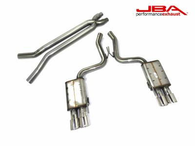 """Exhaust Systems - Automotive - JBA Exhaust - JBA Performance Exhaust 40-2647 Stainless Steel Exhaust System 2018-2020 Mustang 5.0 2 1/2""""-3"""" Cat Back Exhaust w/X-pipe and four 4"""" double wall tips"""