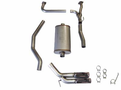 "Exhaust Systems - Truck & SUV - JBA Exhaust - JBA Performance Exhaust 30-1403 3"" 304 Stainless Steel Cat Back Exhaust System 2004-2020 Nissan Titan 5.6L Dual 3 1/2"" Tips Side Rear Exit"