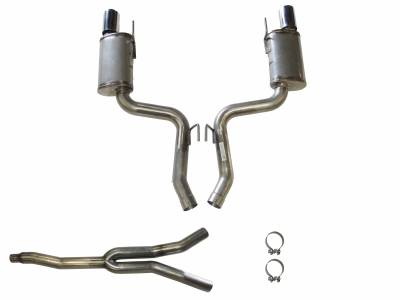 """Exhaust Systems - Automotive - JBA Exhaust - JBA Performance Exhaust 30-2648 304 Stainless Steel Cat Back Exhaust System 2015-2020 Mustang Eco-Boost with 4"""" double wall tips"""